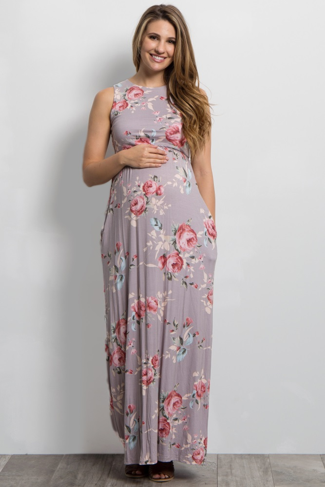 taupe rose floral sleeveless maternity maxi dress