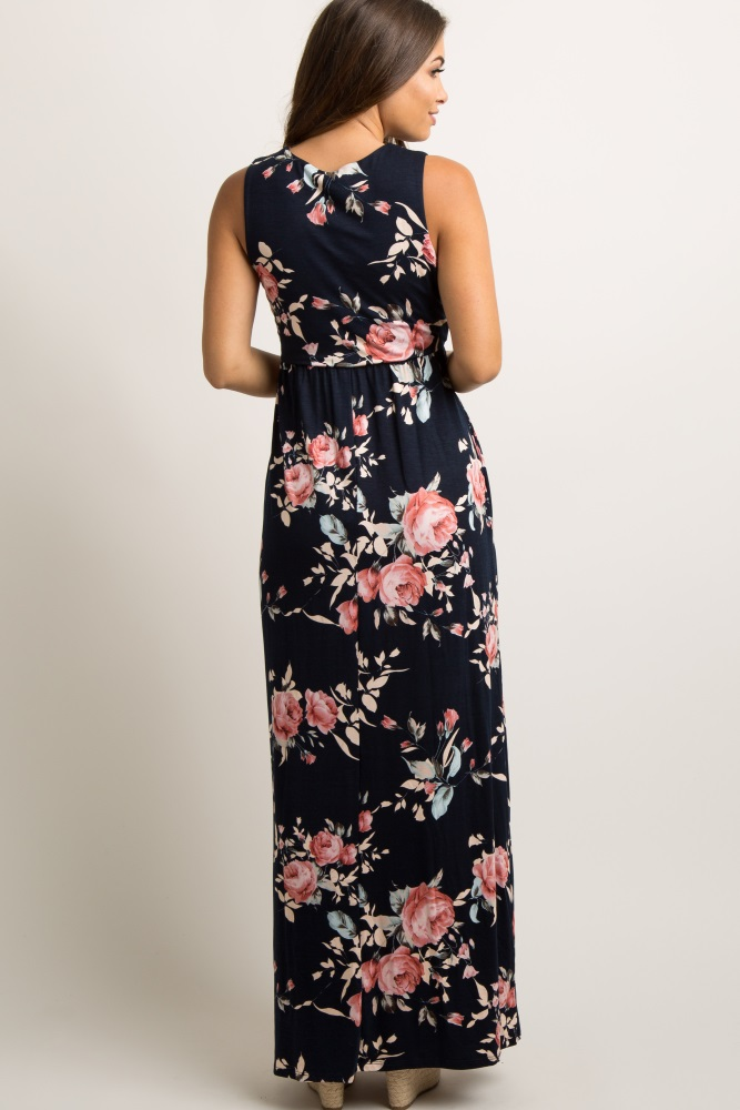 b2397f10ab31d Navy Blue Rose Floral Sleeveless Maternity Maxi Dress