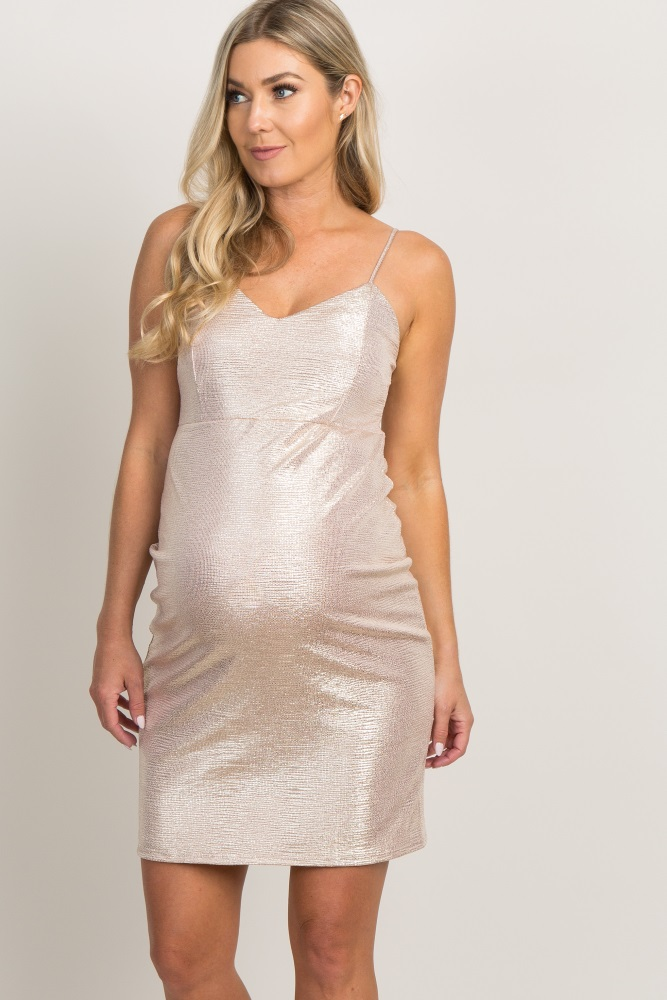 gold shimmer cami strap fitted maternity dress