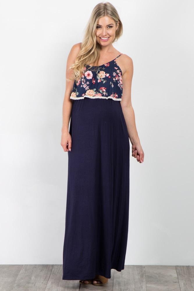 3dfa996223cf4 Navy Blue Floral Top Maternity Maxi Dress
