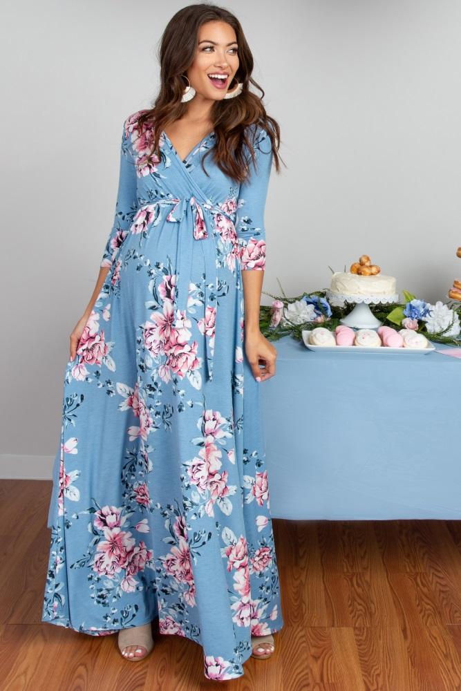 80fe315bc3e Blue Floral Sash Tie Maternity Nursing Wrap Maxi Dress