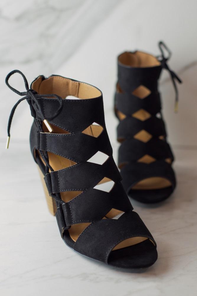 f82eb9114f3 Black Cutout Lace-Up Side Block Heel