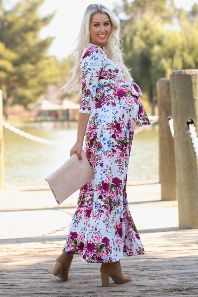 5cf6a66f8b2f5 Petite Ivory Floral Draped 3/4 Sleeve Maternity Maxi Dress