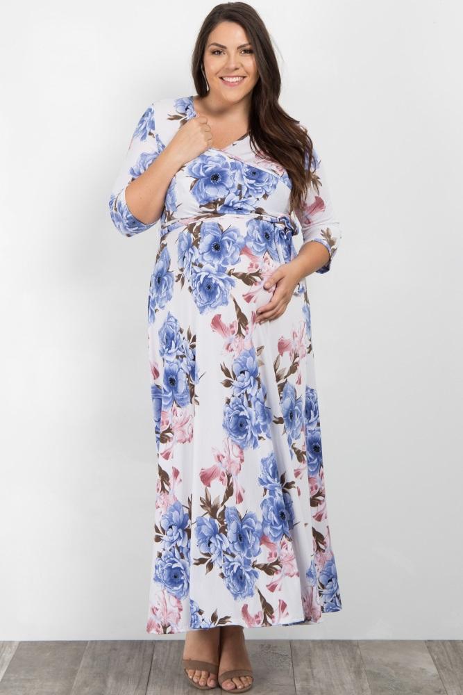 e86fb49e1dc Ivory Floral Sash Tie Maternity/Nursing Plus Maxi Dress
