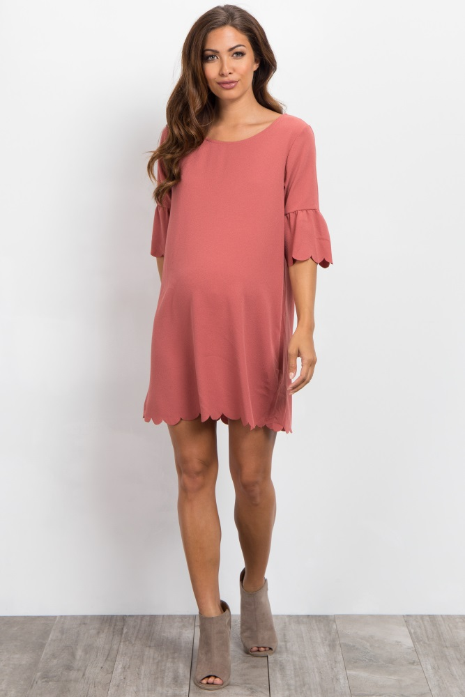 818a332439 Rust Ruffle Sleeve Scalloped Hem Maternity Dress