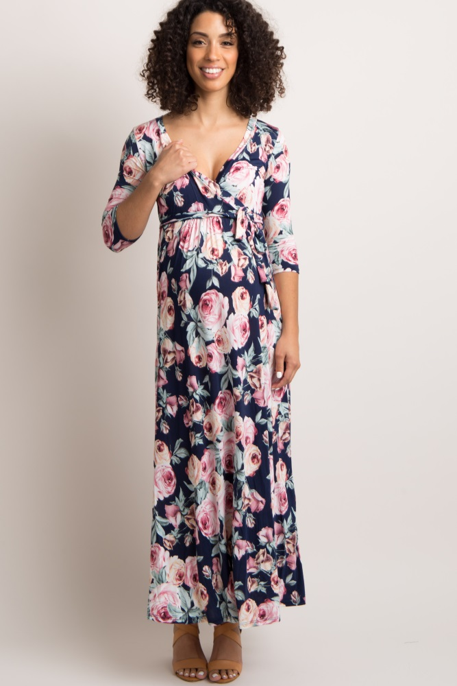 b0c840c852a Navy Blue Rose Print Sash Tie Maternity Nursing Maxi Dress