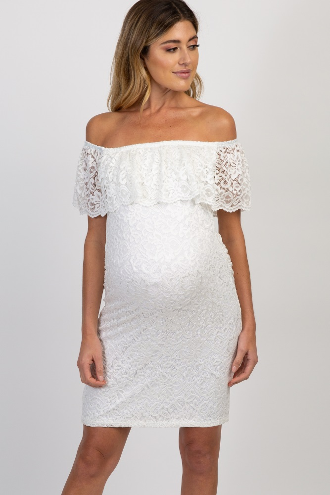 ed65ec4d6cce7 White Lace Off Shoulder Fitted Maternity Dress