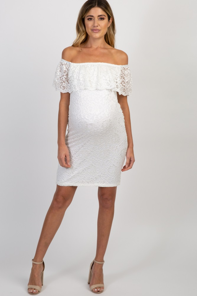 7c7a6136f8 White Lace Off Shoulder Fitted Maternity Dress