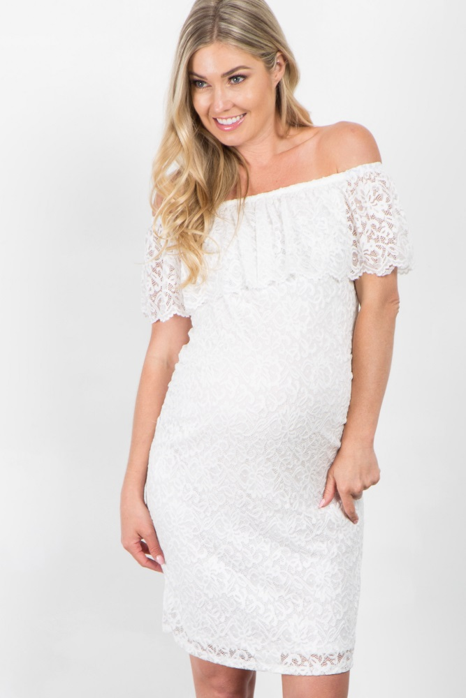 64e37a7ea81 White Lace Off Shoulder Fitted Maternity Dress