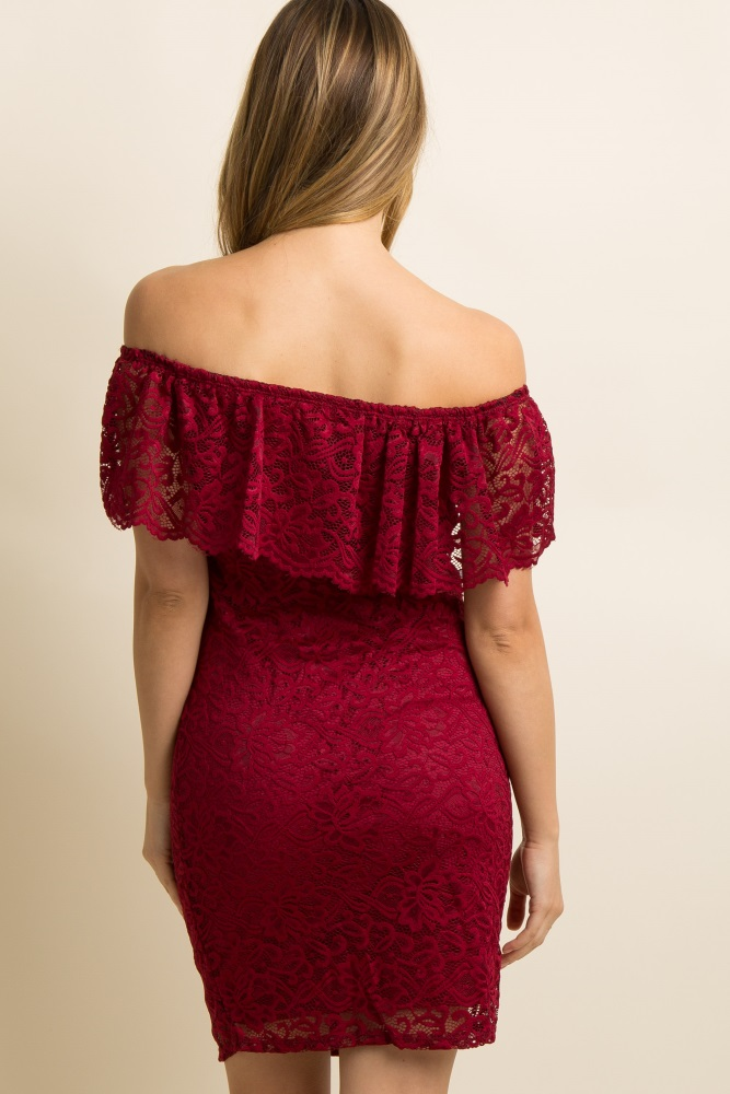 c8eac6e0d0e Burgundy Lace Off Shoulder Fitted Maternity Dress
