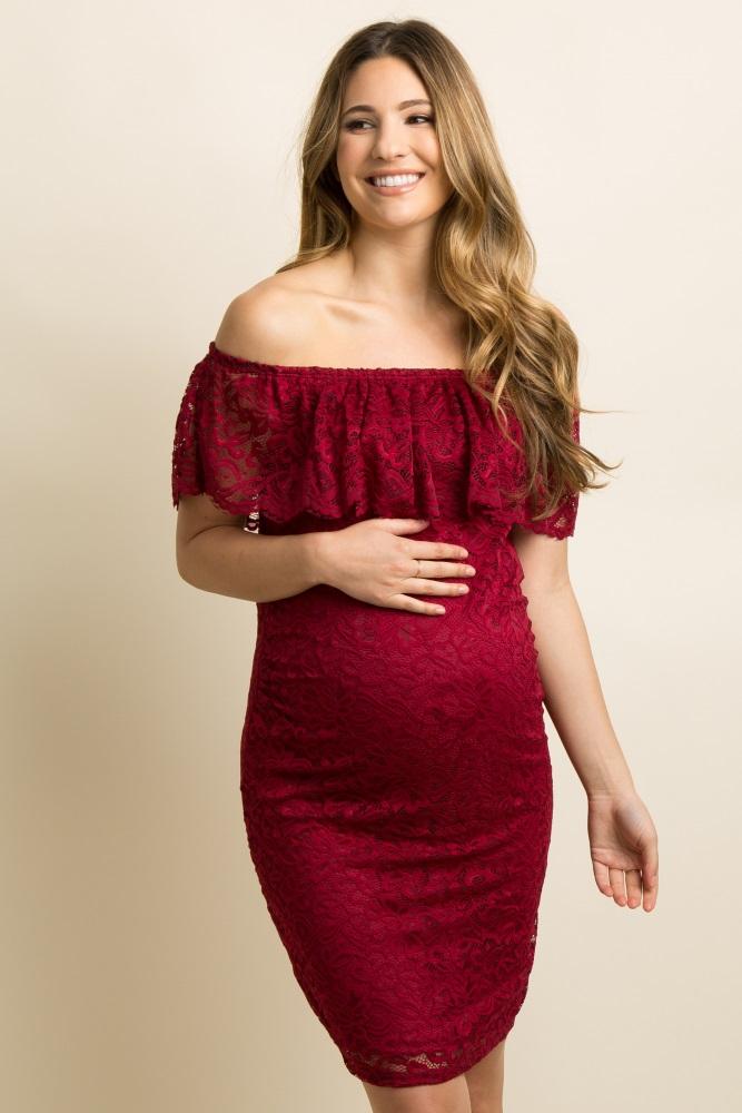 70af5150c20 Burgundy Lace Off Shoulder Fitted Maternity Dress