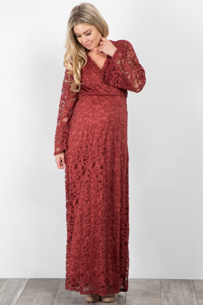 ca53fcff5dcc6 Burgundy Lace Overlay Maternity Wrap Maxi Dress