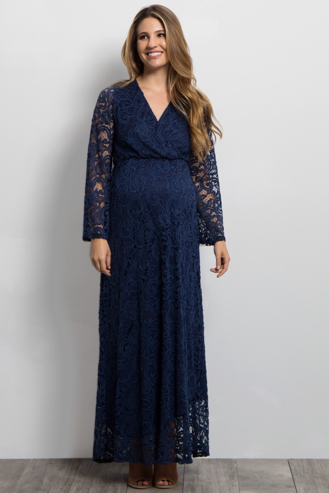 f045a938372 Navy Blue Lace Overlay Maternity Wrap Maxi Dress
