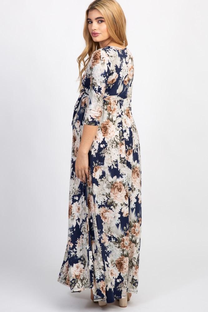 ee8f3eb72a Blue Floral Sash Tie Maternity Nursing Maxi Dress