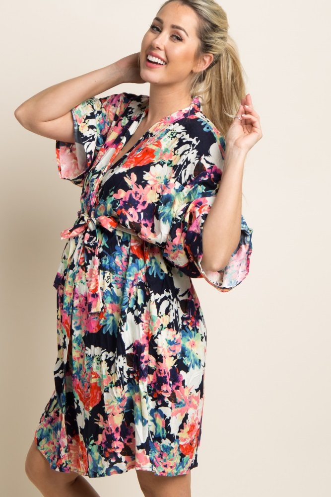 4b30ee6bccd2 Navy Blue Neon Floral Delivery/Nursing Maternity Robe