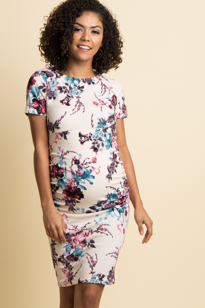 f1ef23c6300 Ivory Floral Fitted Short Sleeve Maternity Dress