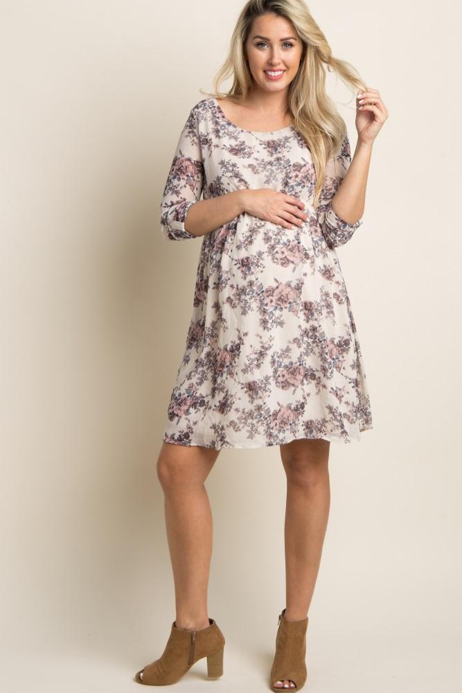 e83b861375d23 Ivory Floral Chiffon Maternity Dress