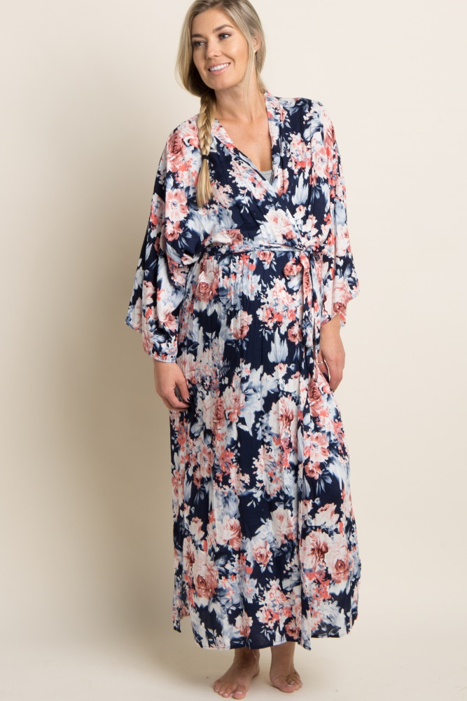 1c65edc3b6639 Navy Floral Delivery/Nursing Long Maternity Robe