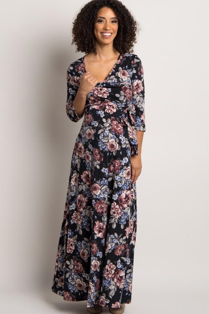 caae5781f1 Black Floral Draped 3 4 Sleeve Maternity Maxi Dress