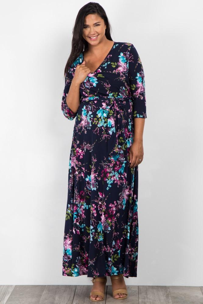 72403209a Navy Pink Floral Sash Tie Plus Maternity/Nursing Maxi Dress