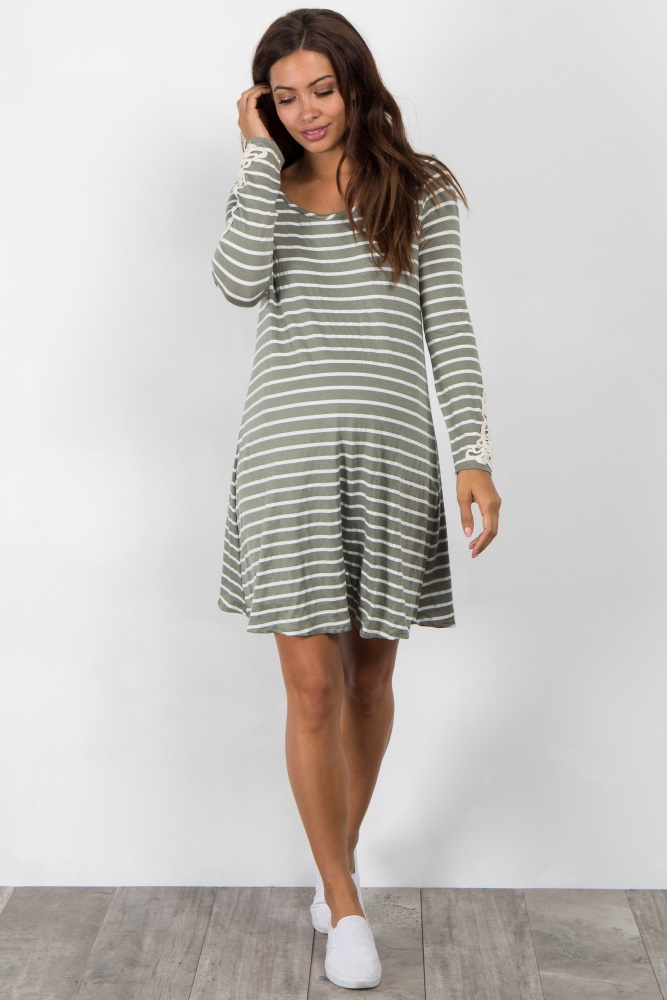 044a444e116 Olive Striped Crochet Sleeve Maternity Dress
