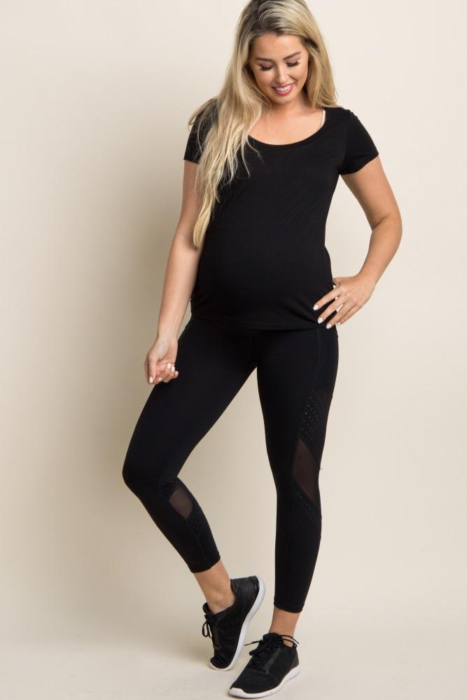 1b2f6d64d3c69 Black Mesh Pocket Panel Active Maternity Leggings