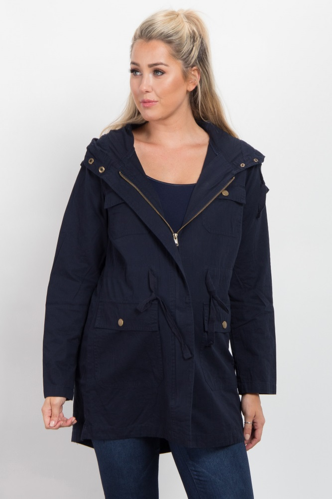 f8f9d0c4b0aae Navy Blue Hooded Cinched Maternity Utility Jacket