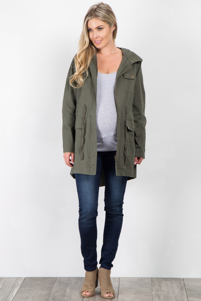 899065d2dd1b9 Olive Hooded Cinched Maternity Utility Jacket