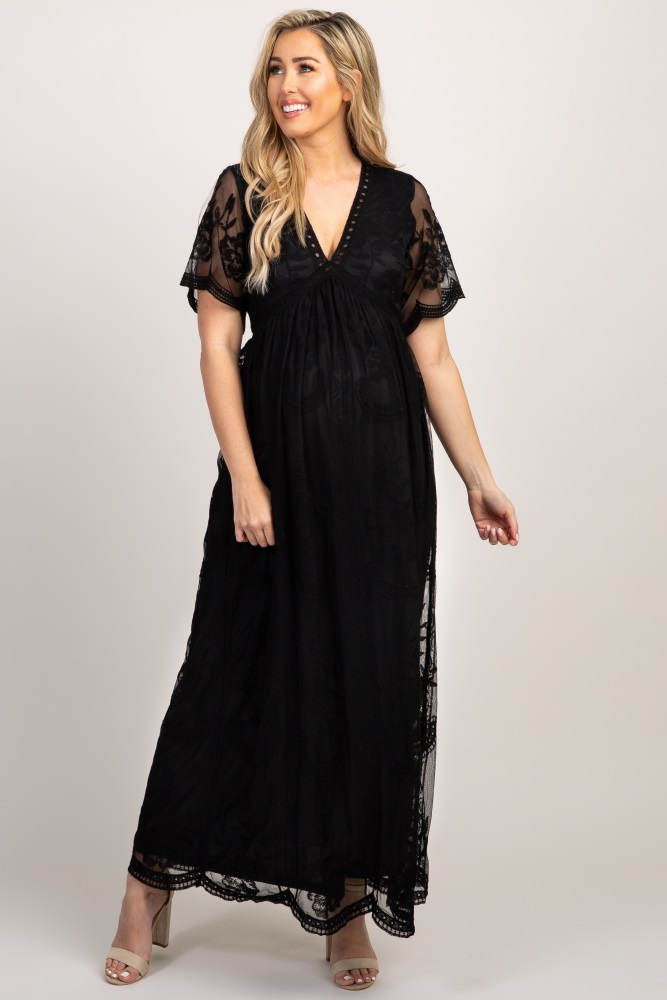49bb95c11b057 Black Lace Mesh Overlay Maternity Maxi Dress