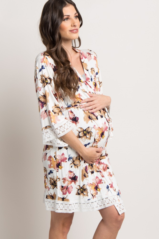 f5058f2d49 Taupe Floral Lace Trim Delivery Nursing Maternity Robe