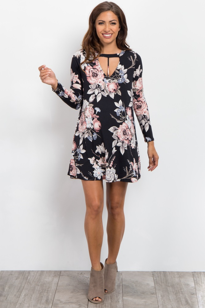 d132c8d08aa Black Floral Cutout Long Sleeve Maternity Dress