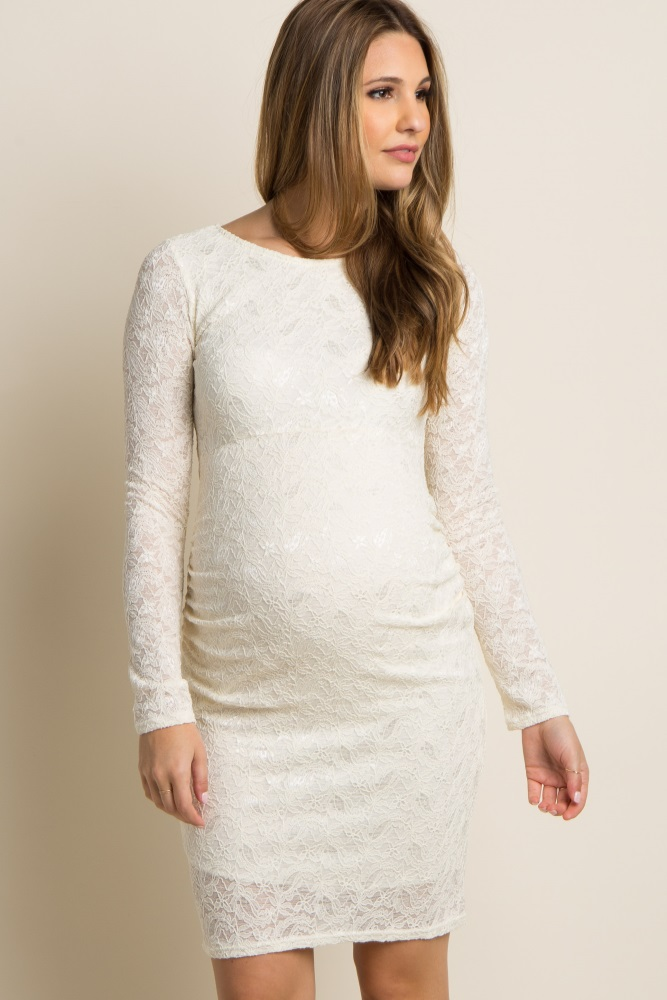 Ivory Lace Fitted Long Sleeve Maternity Dress