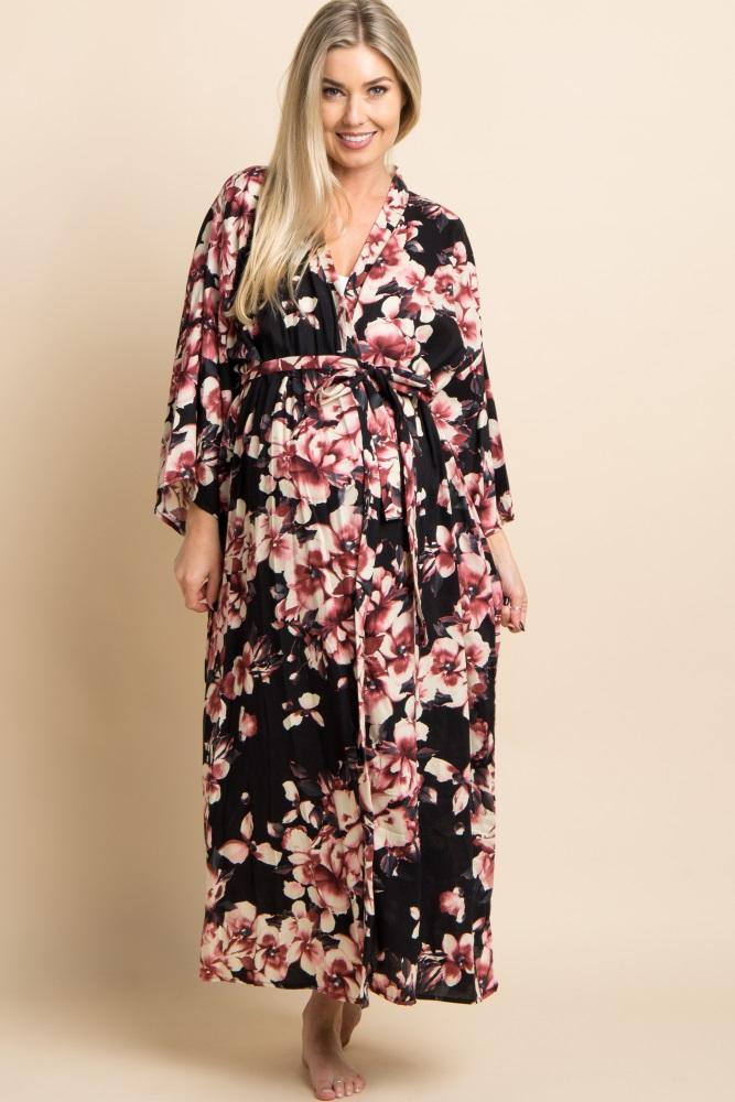 b13a884b519 Black Floral Print Delivery Nursing Long Maternity Robe