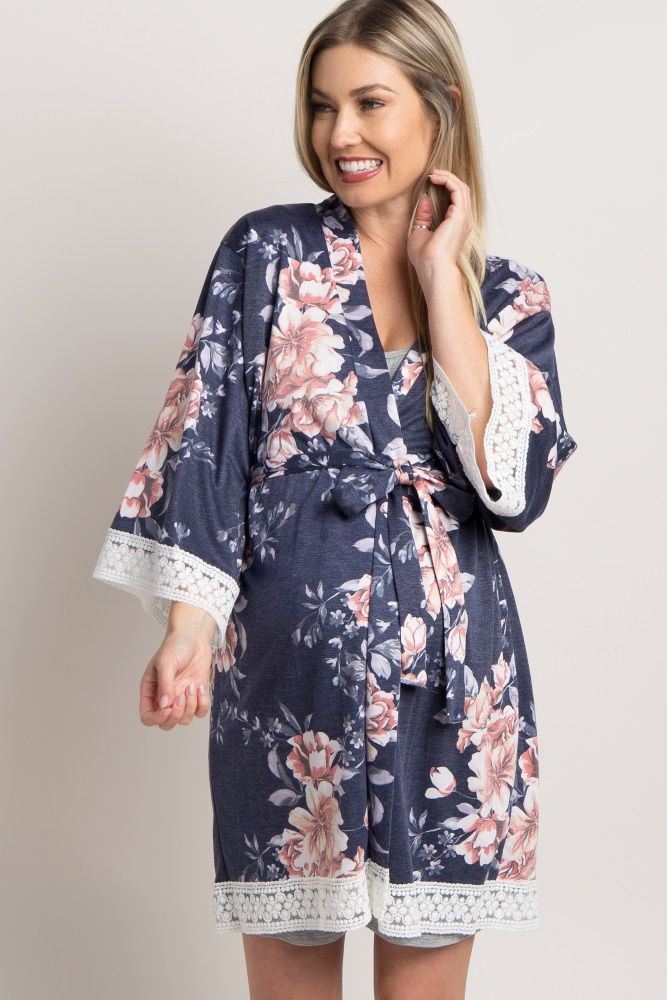 7f674a05a7eed Navy Blue Floral Lace Trim Delivery/Nursing Maternity Robe