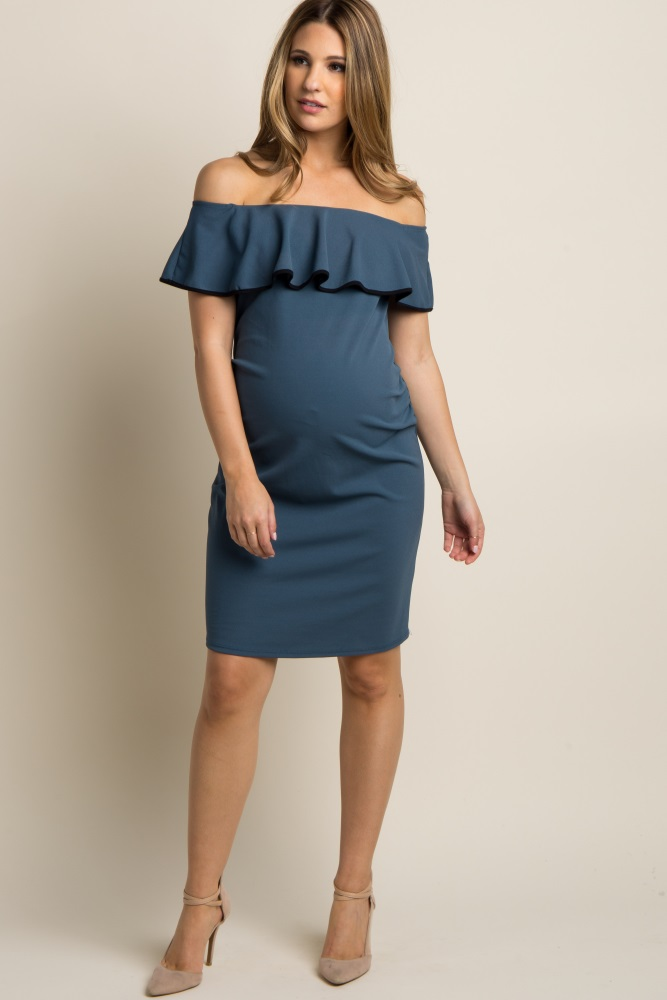 f4ba300399faf Teal Off Shoulder Ruffle Fitted Maternity Dress