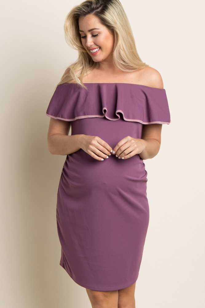 1530343fe24 Mauve Off Shoulder Ruffle Fitted Maternity Dress