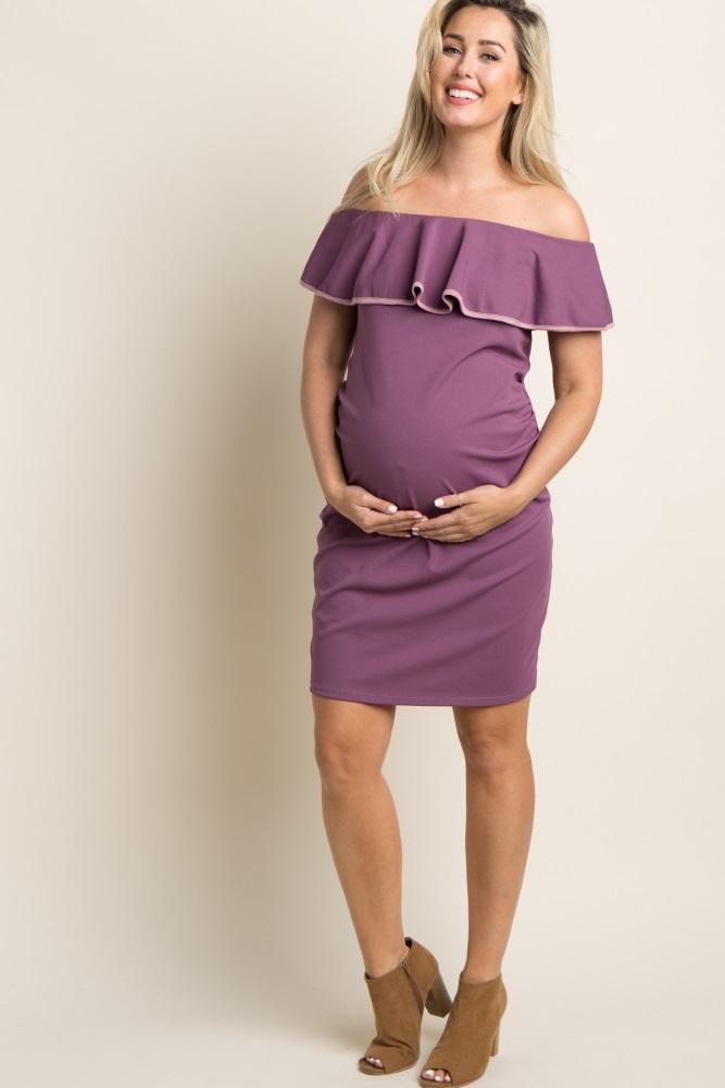 7b6b1a03ca Mauve Off Shoulder Ruffle Fitted Maternity Dress