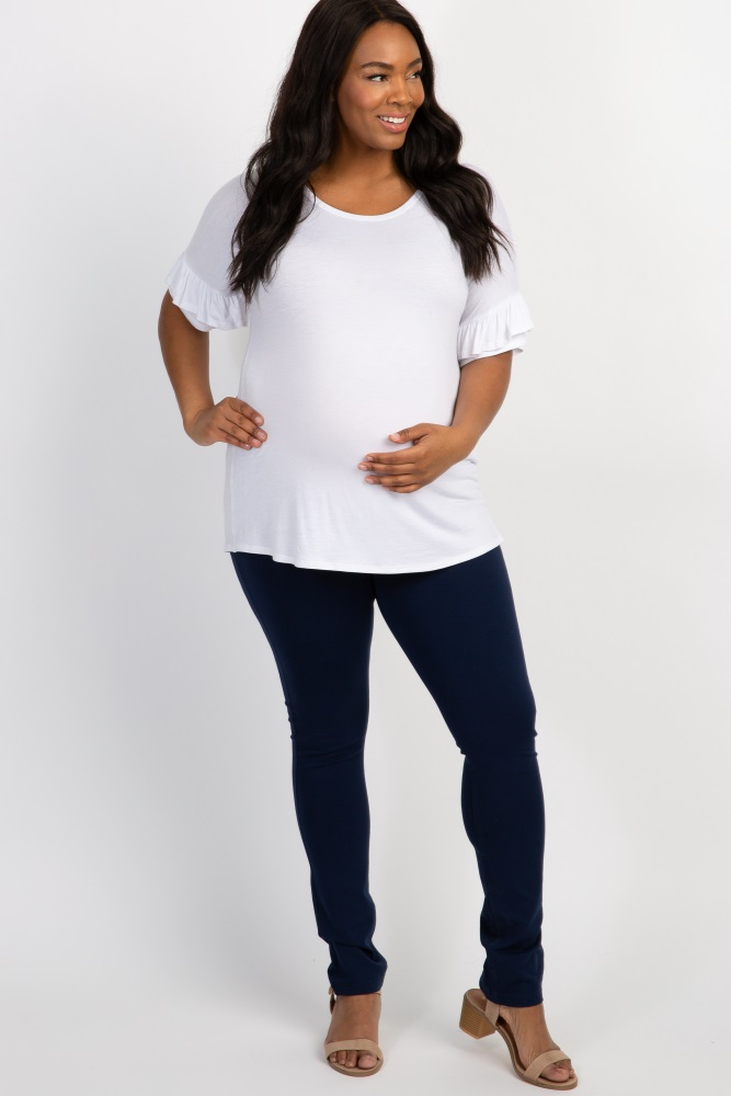 8b8f16aa861ad Navy Blue Basic Plus Maternity Jeggings