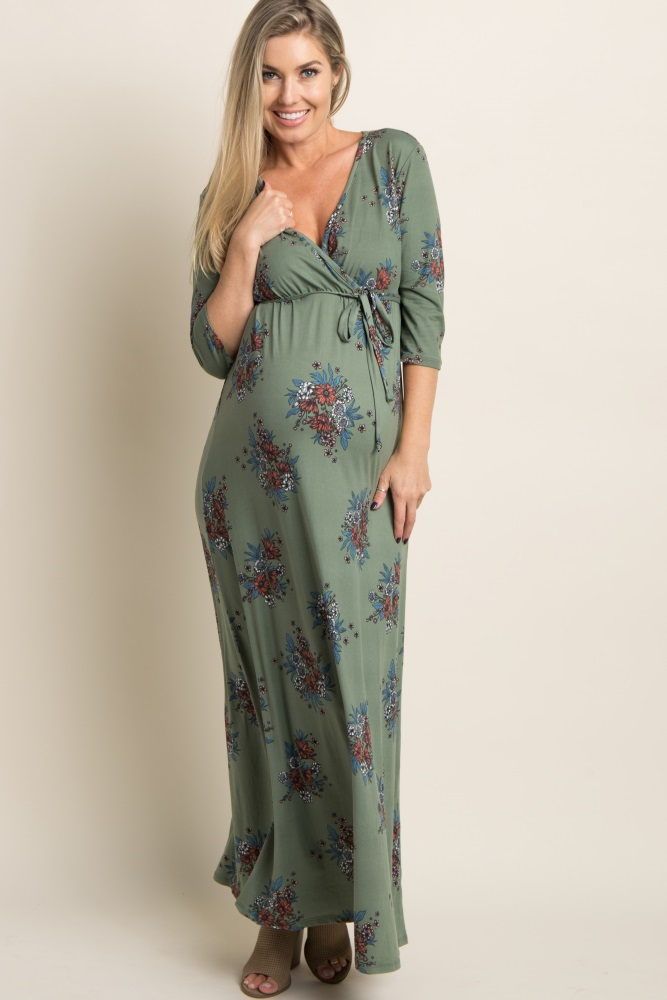 82b4ab70a0 Olive Green Floral Sash Tie Maternity/Nursing Maxi Dress