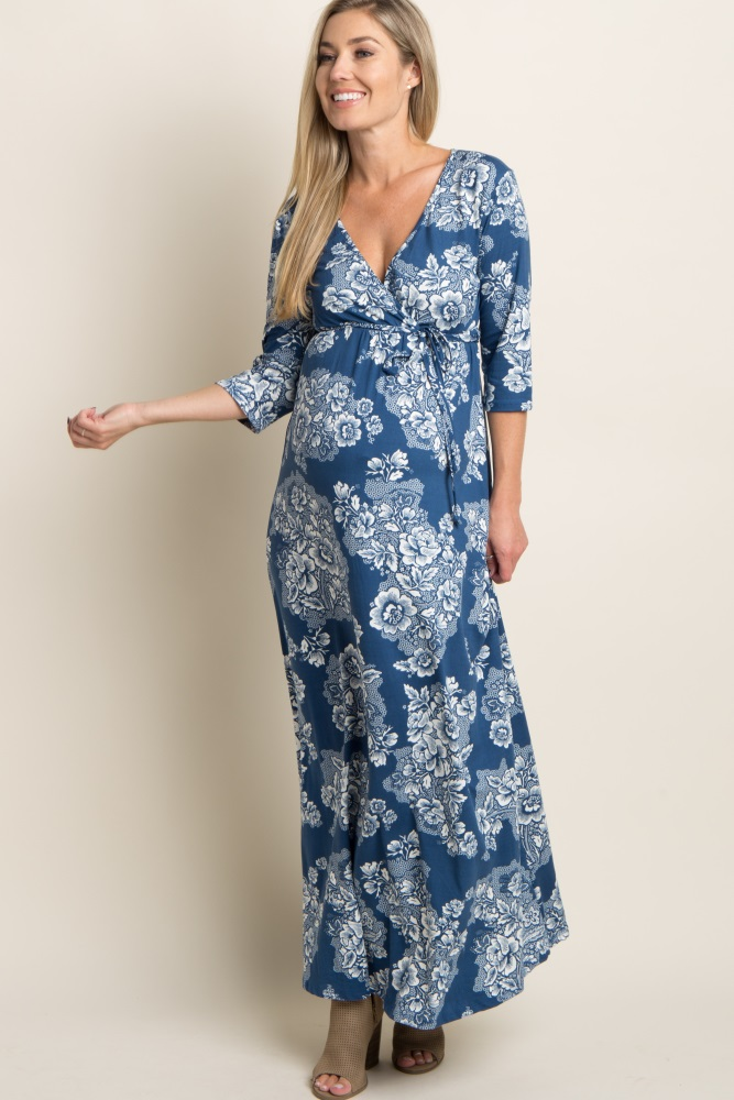 f73d45d389 Blue Floral Print Maternity/Nursing Wrap Maxi Dress