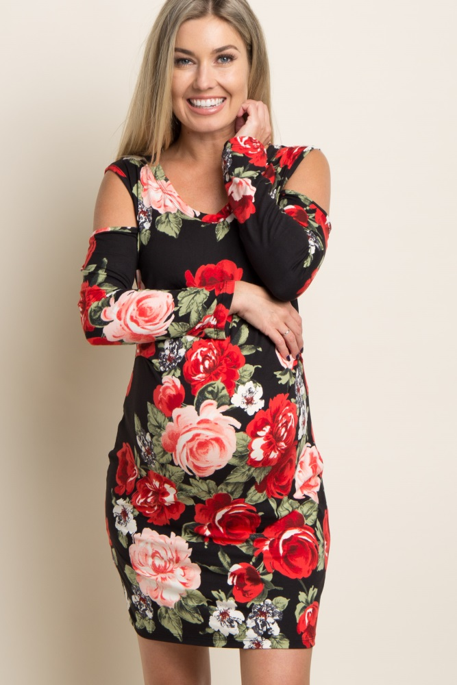 8a0cd15978126 Black Floral Cold Shoulder Fitted Maternity Dress