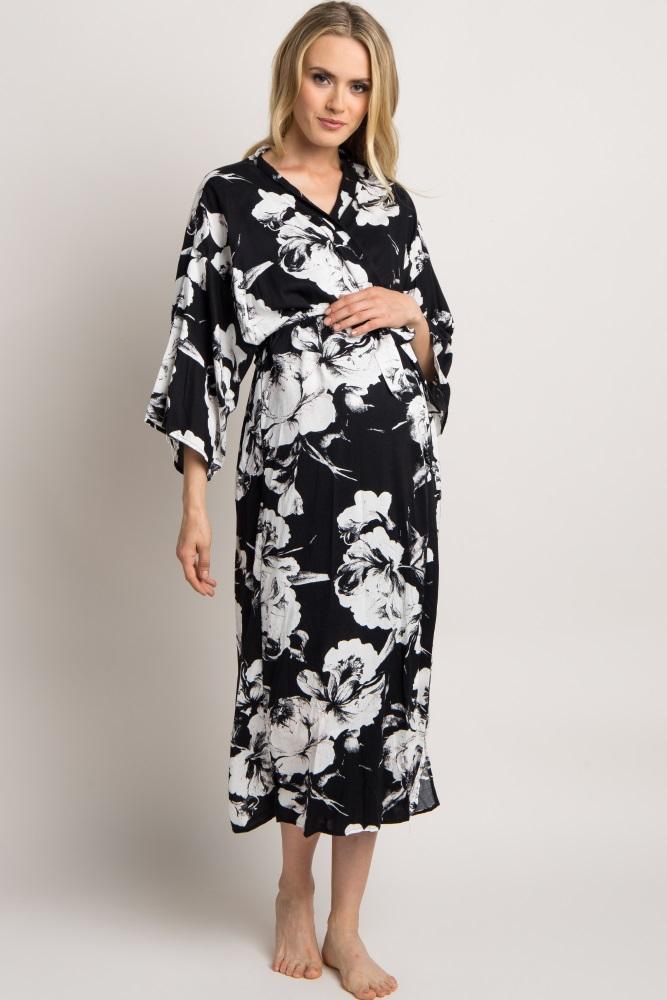 a660e27ce19 Black Delivery Nursing Maternity Robe