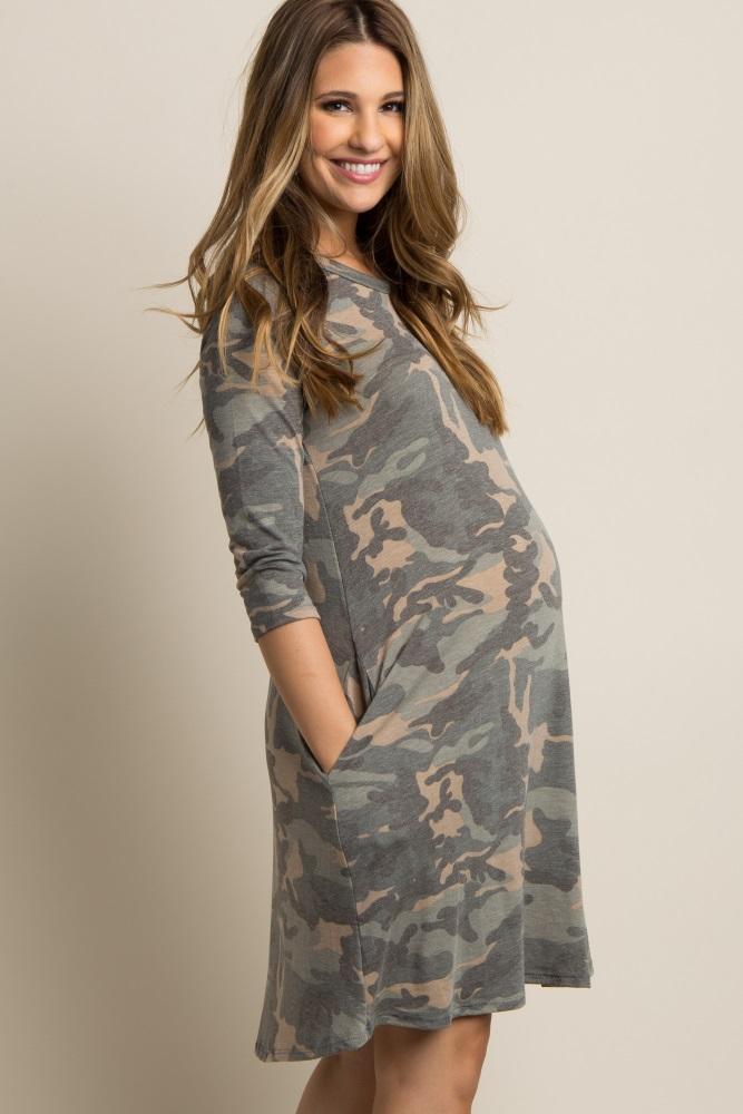8da26816d4c Green Faded Camo Print Maternity Dress