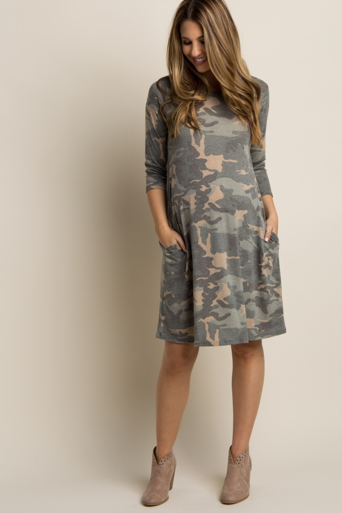 8da26816d4c Green Faded Camo Print Maternity Dress