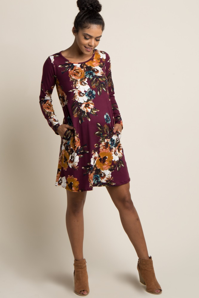 669dfb2ae92 Burgundy Floral Long Sleeve Maternity Swing Dress