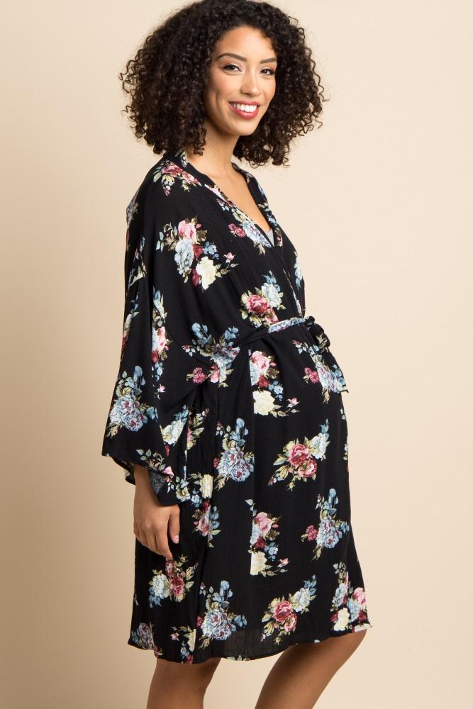 c70e66bb7265c Black Floral Delivery/Nursing Maternity Robe