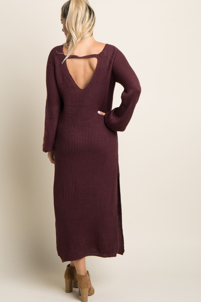 125126a15 Burgundy Solid Long Sleeve Knit Maternity Maxi Dress