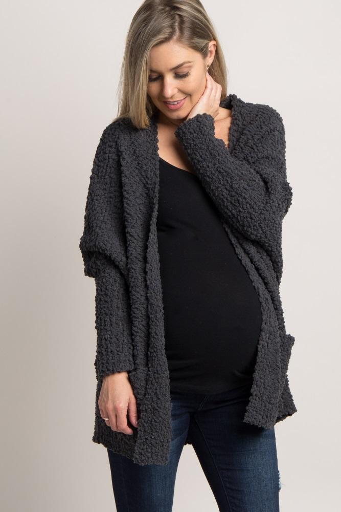 c58e2ce264 Charcoal Grey Popcorn Knit Maternity Cardigan