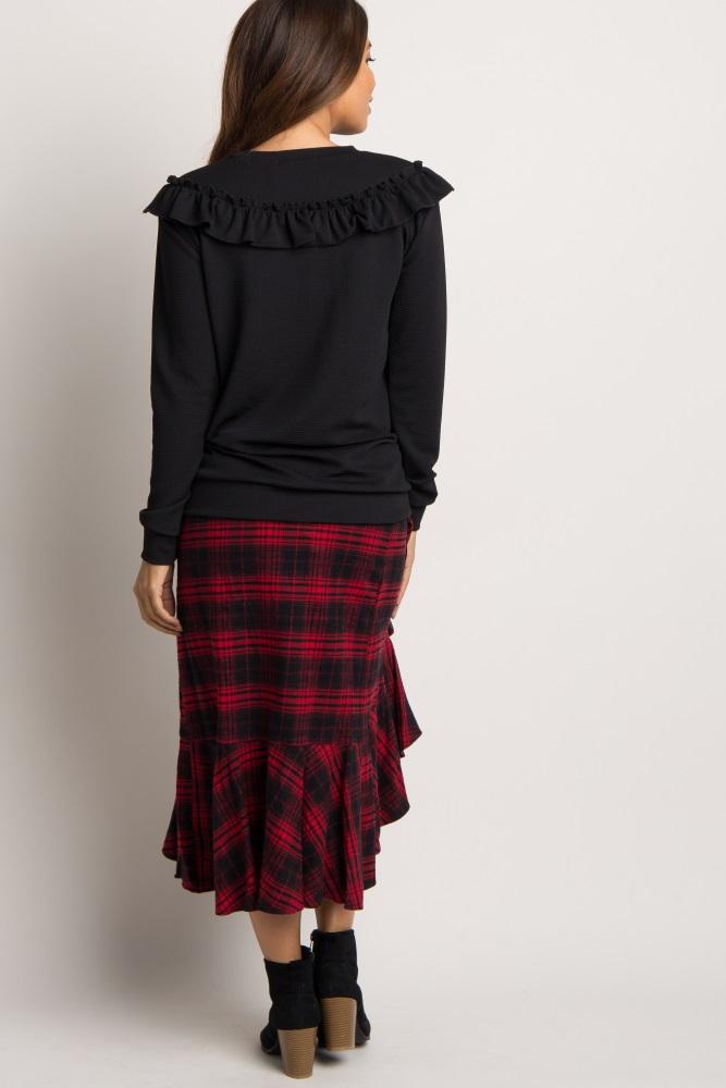 ba45fdfeac0ecc Red Plaid Ruffle Trim Wrap Hi Low Maternity Skirt