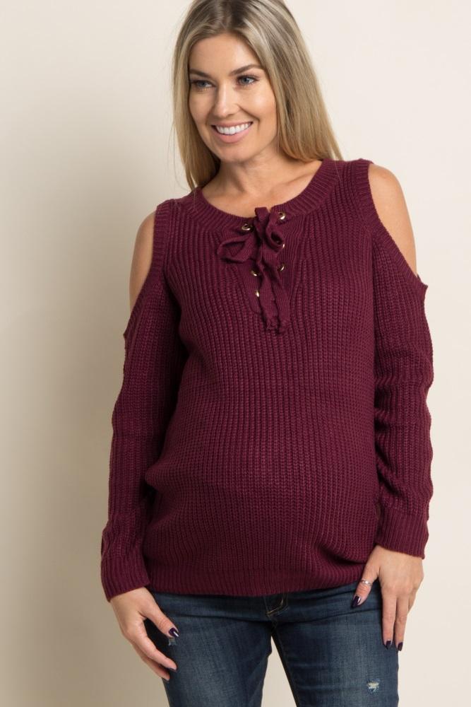af91cd52b8f Burgundy Cold Shoulder Lace Up Knit Maternity Sweater